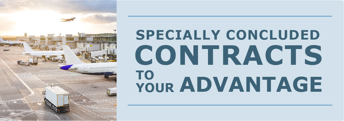 """banner reading """"Specially concluded contracts to your advantage"""""""