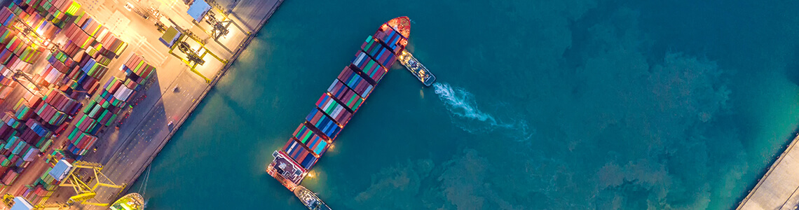 Containership and port from above