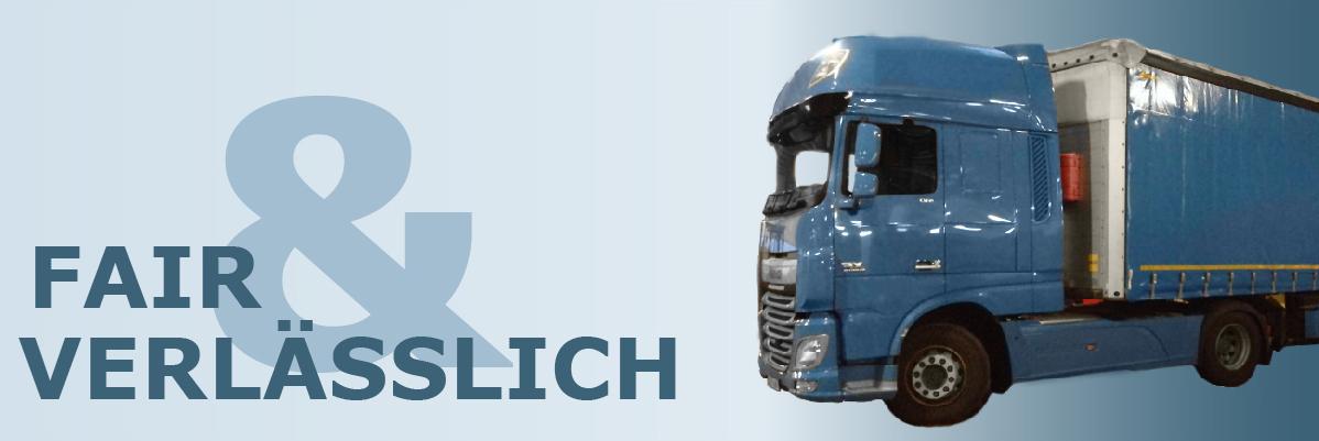 """Banner mit LKW und Text """"Fair und verlässlich"""""""
