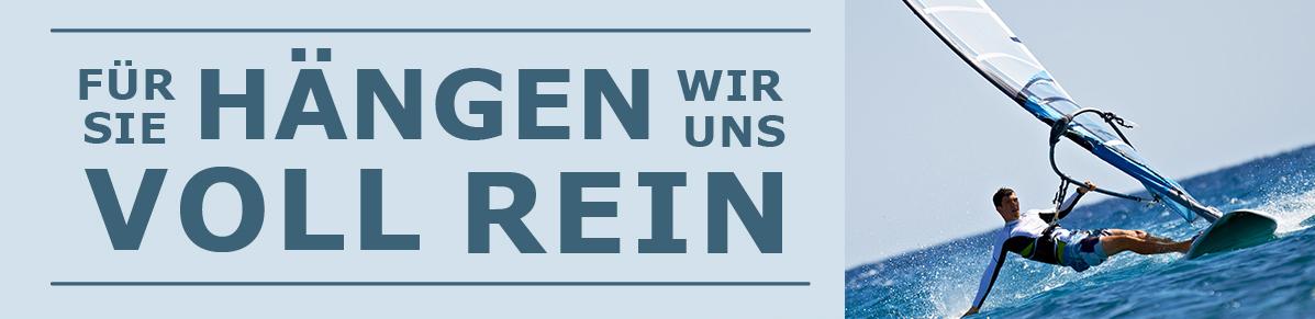 """Banner mit Windsurfer und Text """"Für Sie hängen wir uns voll rein"""""""